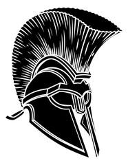 A warriors ancient Greek Spartan, Roman gladiator or trojan helmet