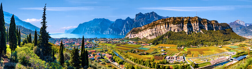 Beautiful aerial view of Torbole, Lake Garda (Lago di Garda) and the mountains, Italy Fotomurales