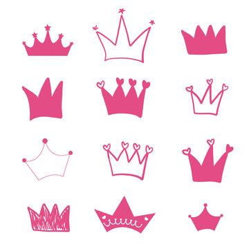 Hand drawn doodle pink crown illustration set