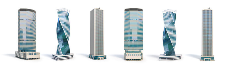 Set of different skyscraper buildings isolated on white. Fotomurales