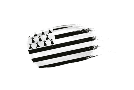Brush painted Brittany flag. Hand drawn style