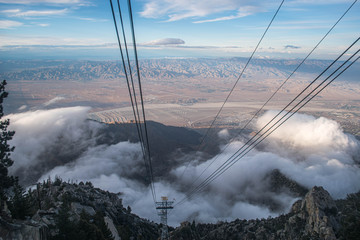 Palm Springs tramway after late season snow