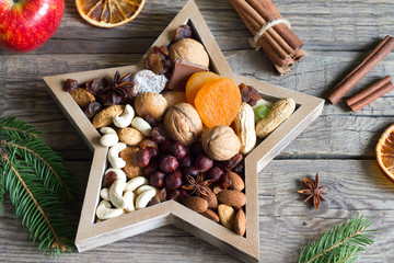 Nuts and dried fruits mix for Christmas