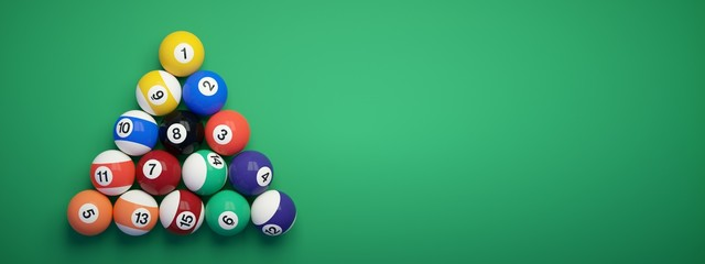 Billiard balls placed in the shape of a triangle.