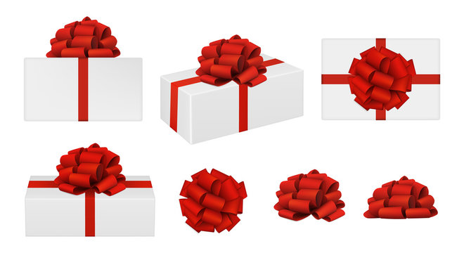 Set of vector realistic red bows and gift boxes. top view, side view, perspective view. EPS 10