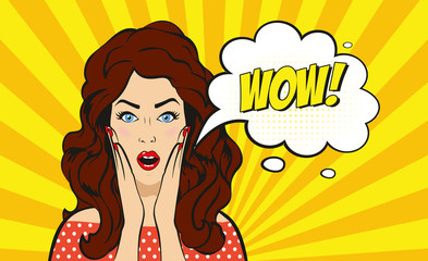 Pop art surprised brunette woman face with open mouth. Vector illustration.
