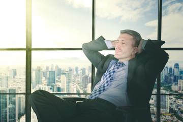 Side view of entrepreneur taking a break