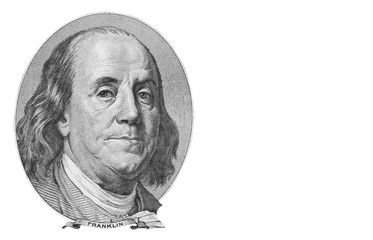 Benjamin Franklin portrait on one hundred US dollars banknote. Isolated on white. Wall mural