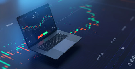 Futuristic stock exchange scene with laptop, chart, numbers and SELL and BUY options (3D illustration)