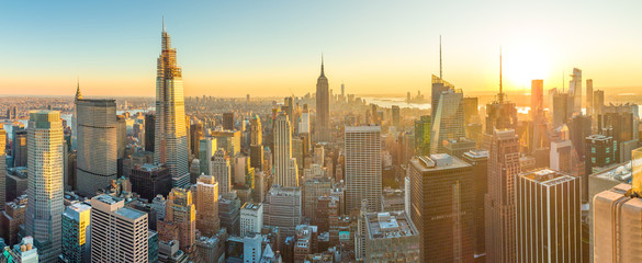 Wall Mural - New York City Manhattan buildings skyline sunset evening