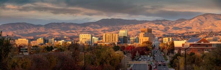 Beautiful city sunset over Boise Idaho in autumn