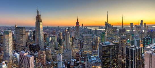 New York City Manhattan buildings skyline sunset evening