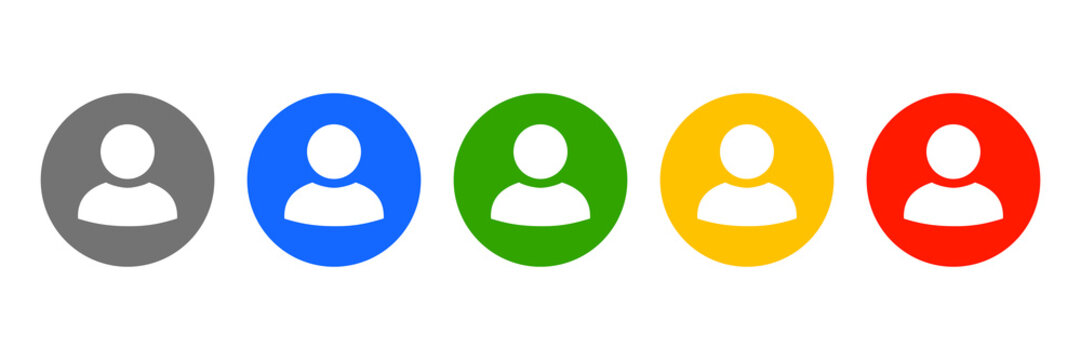 Set user avatar icon, button, profile symbol, flat person icon – stock vector