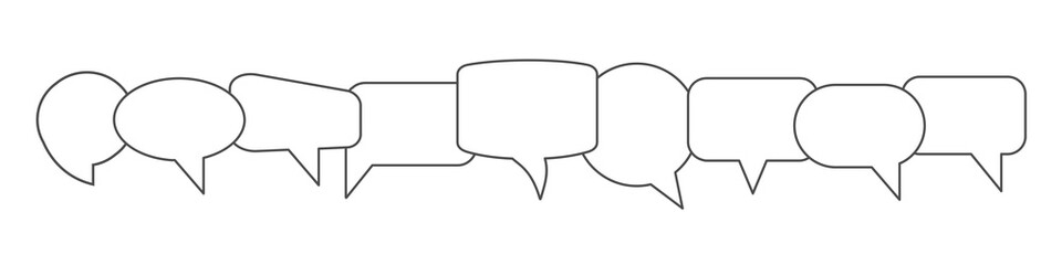 Set different empty speech discussion bubble, chat sign - vector