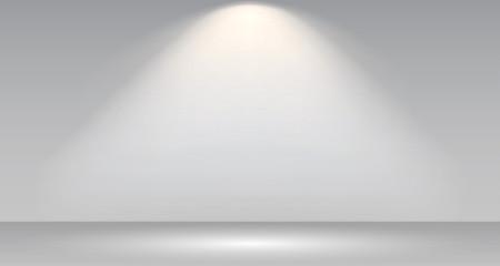 Empty white photo studio interior background. Gallery Interior with shine illuminated spotlight. Realistic empty white wall – stock vector Fototapete