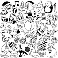 Christmas Doodles Funny and Cute Black and White Vector Characters isolated pack of 37