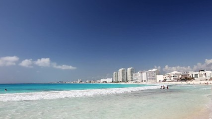 Fototapete - Caribbean sandy beach with turquoise water. Resorts along coastline. Travel destinations. Summer vacations