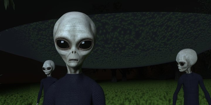 Alien Ufo in Forest with three Grey Aliens extremely detailed and realistic high resolution 3d illustration