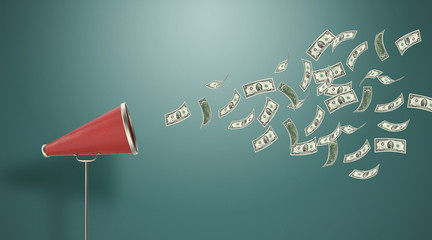 Two Dollar Paper Bills are Coming Out From A Vintage Megaphone