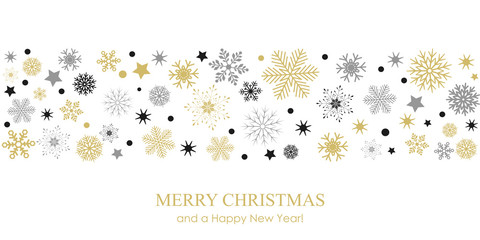 Snowflake border background for Christmas card - stock vector