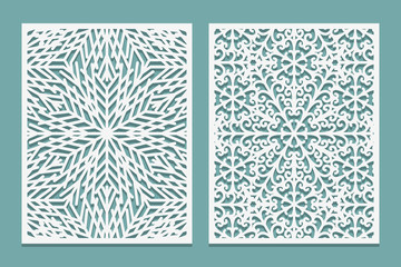 Die and laser cut decorative panels with snowflakes image. Lazer cutting lacy borders. Set of Wedding Invitation or greeting card templates.