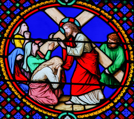 Stained Glass in Notre-Dame-des-flots, Le Havre - Jesus Carrying the Cross