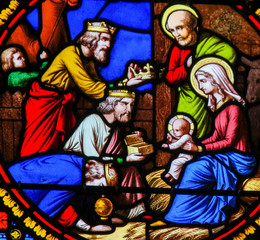 Wall Mural - Stained Glass in Notre-Dame-des-flots, Le Havre - Epiphany