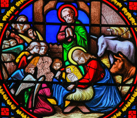 Wall Mural - Stained Glass in Notre-Dame-des-flots, Le Havre - Nativity Scene at Christmas
