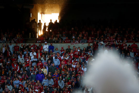Sunlight shines through a tunnel during the N.C.A.A. Division I college football game between Louisiana State University and University of Alabama at Bryant-Denny Stadium in Tuscaloosa