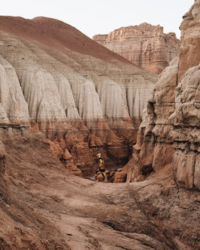 Man standing in canyon