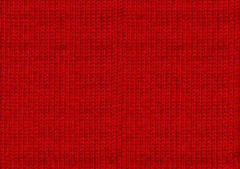 Ugly sweater Christmas party. Red knitted background. The atmosphere of a warm sweater. New year backdrop. Texture of the wool or acrylic knit