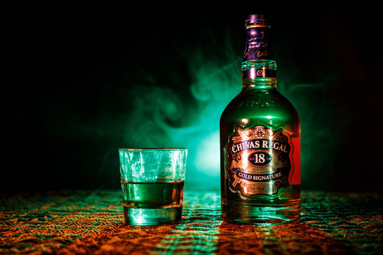 BAKU, AZERBAIJAN – MARCH 25, 2018: Blended from whiskies matured for at least 18 years, Chivas Regal 18 Gold Signature is a blended Scotch whisky produced by Chivas Brothers in Keith, Scotland.