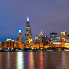Printed roller blinds Chicago Chicago Cityscape river side along Lake Michigan at beautiful twilight time, Illinois, United States, Business Architecture and building with tourist concept