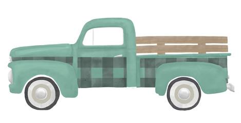 Old Vintage Green Gingham Christmas Truck