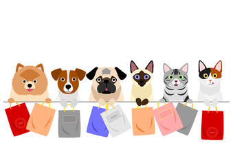cats and dogs holding paper bags in a row