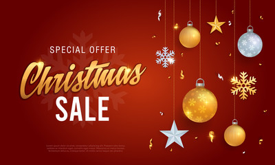 Christmas sale banner red background template with glitter gold elements, snowflakes, stars