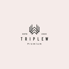 triple w monogram www letter hipster retro vintage lettermark logo for branding or t shirt design