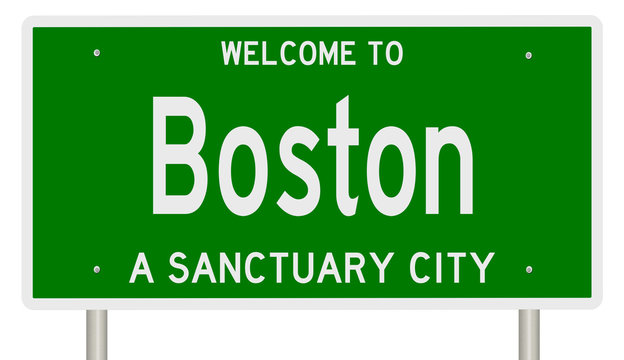 Rendering of a green 3d highway sign for sanctuary city Boston