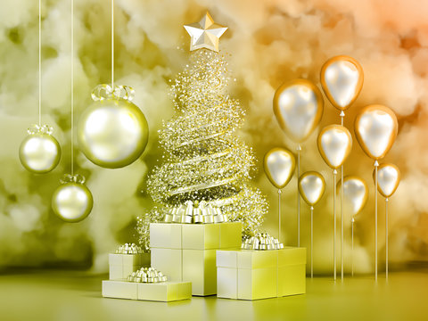 Beautiful luxury New Year Christmas holiday background. 3d illustration, 3d rendering. 3d ..illustration, 3d rendering.
