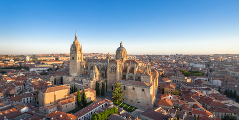 Panoramic aerial cityscape of Salamanca, Spain with building of New Cathedral on sunrise Wall mural