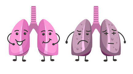 Healthy and ill lungs isolated icons, organs with happy and sad face