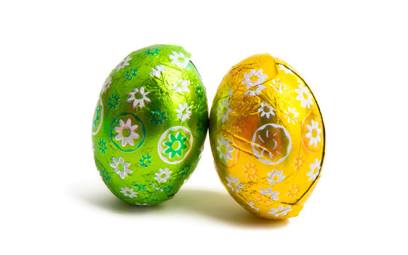 easter chocolate eggs isolated