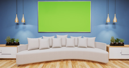 Living Room with whiteboard on wall room color blue.3D rednering