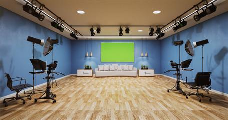 Obraz News studio blue room design Backdrop for TV shows.3D rendering - fototapety do salonu