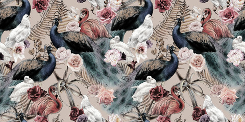 Seamless floral pattern with birds, watercolor.