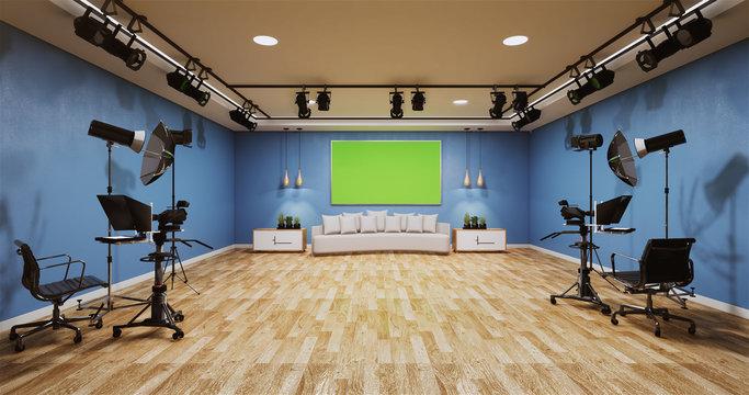 News studio blue room design Backdrop for TV shows.3D rendering