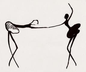 Two balerinas dance