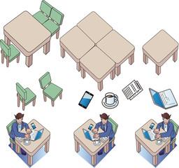 シェアオフィスと人物と道具や家具