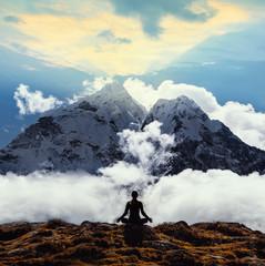 Serenity and yoga practicing at himalayas mountain range, meditation