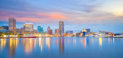 Fotomurales - View of Inner Harbor area in downtown Baltimore Maryland USA